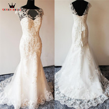 Buy Custom Size Mermaid Lace Beading Crystal Wedding Dresses Sexy Luxury Vestidos De Noiva Wedding Gown 2018 Real Photos LR15 for $228.00 in AliExpress store