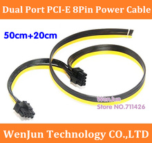 20PCS/LOT 50cm+20cm Dual Double Port PCI-E PCIE PCI Express 8Pin Graphics Video Card DIY Power Flat Cable Cord 8pin+8pin