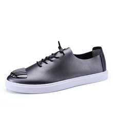 Men's Genuine Leather Breathable Lace up Slip Resistant Fashion Casual Canvas Vulcanized Oxford Business Shoes(China)