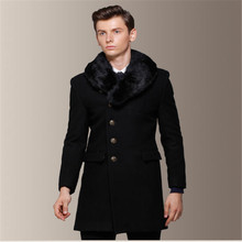 Mens Wool Coat Removeable Fur Collar 60% Wool Men's Long Pea Overcoat Peacoats Fall And Winter Fashion Slim Fit Trenchcoat A751