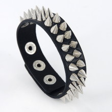 Gothic Delicate Cuspidal Spikes Rivet Cone Stud Cuff Black Leather bracelets & bangles Punk Bracelet for women men  SL-391