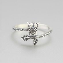 Flyleaf 925 Sterling Silver Tree Branches Owl Opens Rings For Women Vintage High Quality Girl Gift Sterling-silver-jewelry(China)