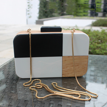 2017 European and American style new black and white hit color stitching acrylic bag shoulder Messenger small square bag