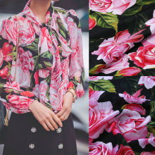 140cm width silk fabric,big rose flowers print soft silk crepe fabric for women dress. Mulberry silk satin shirt fabric tissue(China)