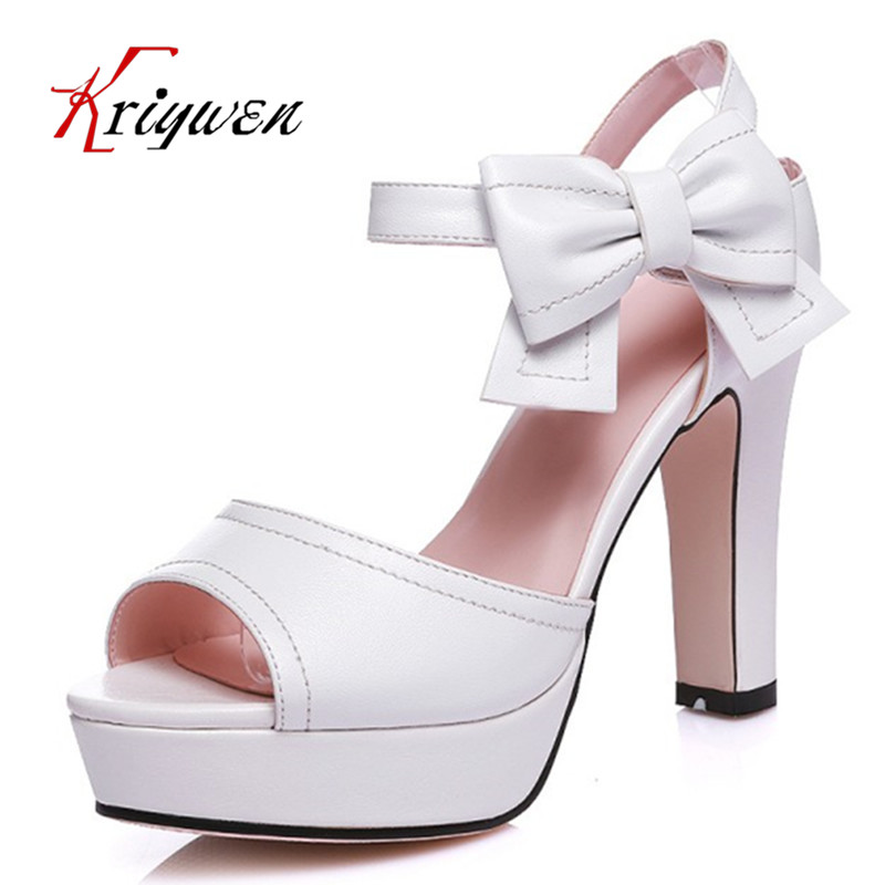 Plus size 33-44 New Summer Lady Platform high Heel Chunky pink sandals PU Leather Peep Toe Ankle strap Women Gladiator Shoes<br>