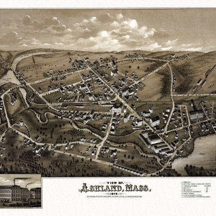 Historic Map of Ashland Massachusetts 1878 Middlesex County Poster Print (36 x 54)