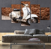 Painting Modern Home Decor Canvas Poster Living Room Modular Frame 5 Pieces White Electric Motorcycle Wall Art Pictures(China)