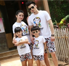 2015 summer New Family  Mother and daughter clothes, Kids Baby Milo Sports T shirt +Pants Girls Boys sets