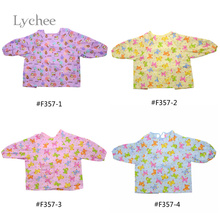 Lychee New Arrival Long Sleeved Children's Waterproof Painting Apron Multicolor Kids Drawing Aprons Random Pattern