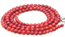 "Super Long 33"" Red 5.5-8mm High quality Round nature Coral Necklace -5366 Wholesale/retail Free shipping"