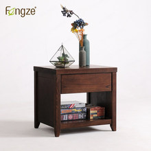 FengZe furnishing FZ101 wooden nightstand living room tea table country style bedroom mini storage small bedside cabinet in oak(China)