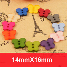 Free ship!400pc!Candy color 2 holes butterfly shap DIY decorative buttons for craft,bulk buttons,sewing accessories