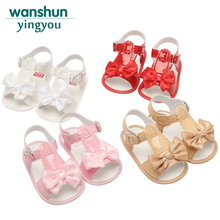 Baby girls Sandals shoes newborn summer footwear infant shoes for baby Bowknot Anti-slip bebes kids brand White Pink Red Apricot(China)