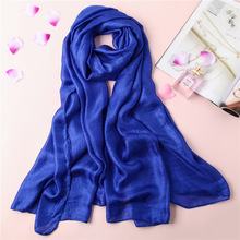 2018 new spring women scarf fashion solid large size shawls silk scarves summer lady pashmina bandana oversize female caps(China)