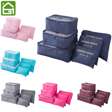 6Pcs Set Travel Luggage Storage Bags Compression Clothes Sorting Packing Cubes Waterproof Clothing Organizer Pouch