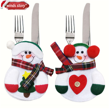 12pcs Xmas Decor Lovely Snowman Kitchen Tableware Holder Pocket Dinner Cutlery Bag Party Christmas table decoration cutlery sets(China)