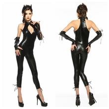 One Size 2015 Hot Sexy Black Latex Catwoman Costume Catsuit Sexy Open Bust Sleeveless Bodysuit Pole Dance Leather Cat Costumes