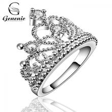 1 x Unique Women Girl Rings Silver Plated Fashion Crown Wedding Band Ring Jewelry