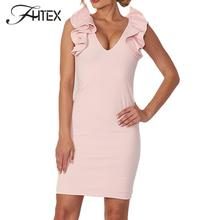 FHTEX Women Summer Pink Dress Ruffles Sleeveless Office Vestidos Sexy Skinny Mini Dresses Mujer Bodycon Hot Evening Party Dress(China)
