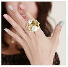 2016  Fashion Pearl Lace Roses Rings For Women Jewelry Girl Boho Gold Finger Engagement Love Ring Accessories Knuckle Ring