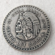 Hobo Uncirculated 1947 Mexico 5 Pesos Silver Foreign Copy Coins Funny skull zombie skeleton Copy Coins(China)