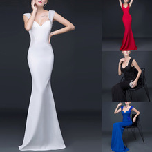 Elegant Crystal Beaded Black Red White Backless Mermaid Long Bridesmaid Maxi Dress 2016 Prom Party Dress Robe De Soiree Longue
