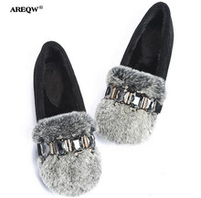 AREQW Large size real rabbit fur shoes woman plus cotton round head flat shoes women leisure shallow mouth autumn winter shoes