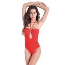 2017 Special Offer Direct Selling Ringed Center Removable Padding Swimming Clothes Hollow - Back High Cut Monokini Swimsuit