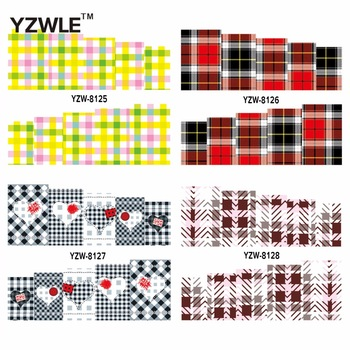 YZWLE 1 Sheet Chic Gird Design DIY Decals Nails Art Water Transfer Printing Stickers Accessories For Nails