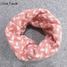 ISHOWTIENDA Autumn WinterBaby Boys Girls Print Collar Baby Scarf Knitted O Ring Neck Scarves free shipping(China)