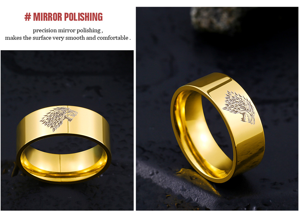 Stainless Steel ring Game of Thrones ice wolf House Stark of Winterfell men ring LUO001 16
