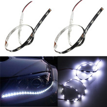 2pcs Waterproof White 30CM 15 SMD Side-Emitting Shine Flexible DRL LED Strip Light Lamb Car Styling