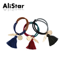 Vintage Patchwork Design Elastic Hair Bands for Women Leaf Tassels Fashion Hair Ropes Double Color Head wear Accessories #JH073