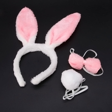 New Halloween Christmas Costume Rabbit Bunny Ears Headband Funny Cute Plush Hair Band For Festival Soft Fashion Lovely Hairband(China)