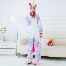 Cute Cartoon Animal Colored Unicorn Pajamas Flannel Hooded Long Sleeve Adult Unicornio Sleepwear For Women onsie set pyjama p102(China)