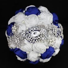 Bridal Bouquet Alloy jewelry Silk Flowers Sliver Brooch Rhinestone Wedding Bouquet Wedding Flowers Party Decoration WT(China)