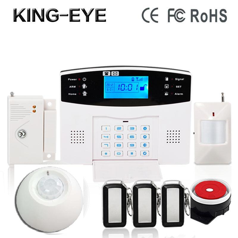 Russian/Polish/French voice prompt LCD display sms gsm alarm systems security home wireless siren roof ceiling infrared sensor(China (Mainland))