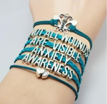 Newest Hand Made Leather Anxiety Awareness Bracelets Jewelry for women not all wounds are visible anxiety awareness YLQ0325