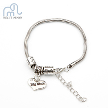 Clearance Sale Vintage Mummy Daddy Sister Lettering Charm Bracelet Fit Original Bracelet DIY Tag Love Heart Jewelry Women Men(China)