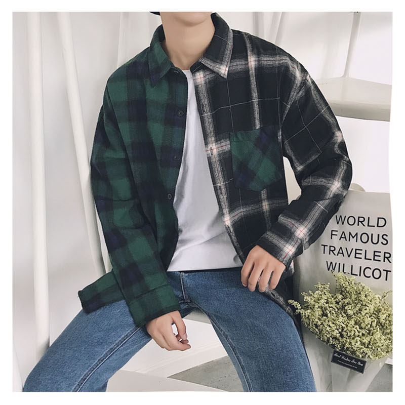 Aolamegs Shirts Men Classic Patchwork Plaid Male Shirts Thin Cotton Full Sleeve Shirt Fashion Casual Slim College Style Autumn (18)