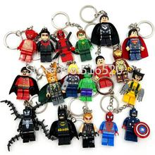 Starwars Marvel Avengers Captain America Ironman Spiderman Deadpool Darth Vader Superman Batman With Legoes Keychain Mini figure(China)