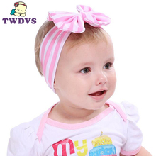 1PC Hot Sale Baby Girl Striped Knot Headband Kids Turban Knitted Hair Accessories Children Cross Headwear 180(China)