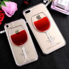 Luxury Red Wine Cup Liquid Transparent Case for iPhone 7 7Plus 5 5s SE Hard Clear Phone Cover for iPhone 6 6s 7 Plus Fundas Capa