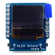 "OLED Shield V2.0.0 for WeMos D1 mini 0.66"" inch 64X48 IIC I2C two button(China)"
