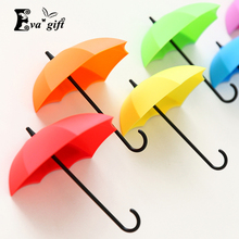 Three pices/lot Plastic umbrella creative modeling wall stickers free nail hook decorative hooks hook stickers(China)