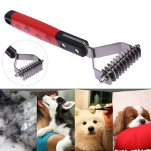 2017 Double Side Dog Brush Dematting Matbreaker Grooming Deshedding Trimmer Tool Comb Pet Brush Rake 10/13/18 Blades(China)