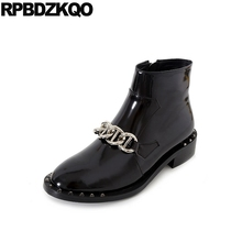 Genuine Leather Brand Flat Rivet Luxury Punk Rock Boots Chain Short Metal Patent Booties Low Heel Black Ankle Stud Shoes Women(China)