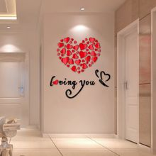 DIY 3D Wall Stickers Decor Lovely Mirror Hearts Home Decal Removable Valentines