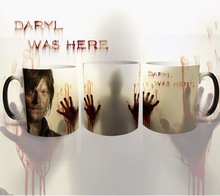 Drop shipping,the walking dead magic mugs daryl was here zombic mugs Hot Cold Heat Sensitive Color changing coffee tea cup mug