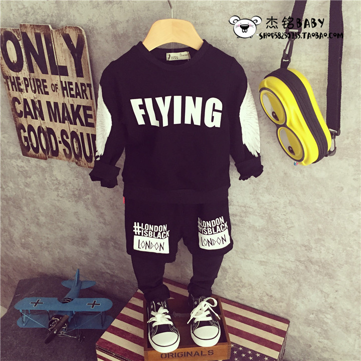 Spring wing han edition childrens wear suit 2016 children who clothes off two boys pants boom two suits<br>